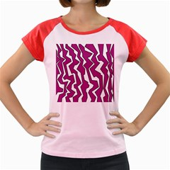 Electric Pink Polynoise Women s Cap Sleeve T Shirt