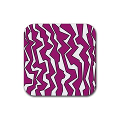 Electric Pink Polynoise Rubber Square Coaster (4 Pack)