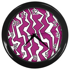 Electric Pink Polynoise Wall Clocks (black)