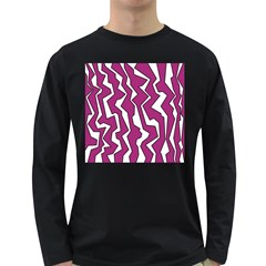 Electric Pink Polynoise Long Sleeve Dark T Shirts