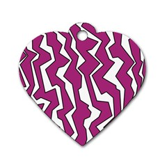 Electric Pink Polynoise Dog Tag Heart (one Side)