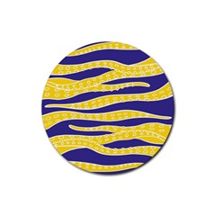 Yellow Tentacles Rubber Coaster (round)