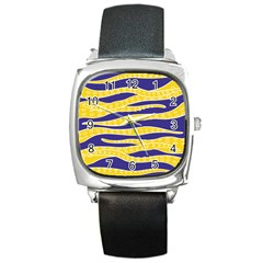 Yellow Tentacles Square Metal Watch