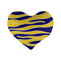 Yellow Tentacles Standard 16  Premium Flano Heart Shape Cushions