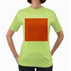Seamless Pattern Design Tiling Women s Green T Shirt