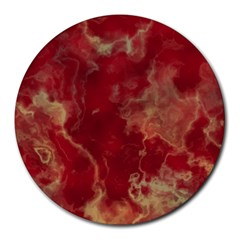 Marble Red Yellow Background Round Mousepads