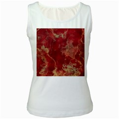 Marble Red Yellow Background Women s White Tank Top