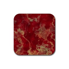 Marble Red Yellow Background Rubber Coaster (square)