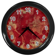 Marble Red Yellow Background Wall Clocks (black)