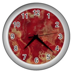 Marble Red Yellow Background Wall Clocks (silver)