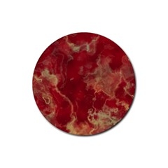 Marble Red Yellow Background Rubber Coaster (round)