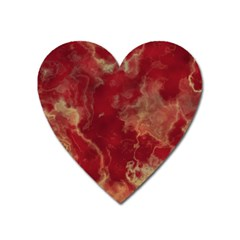 Marble Red Yellow Background Heart Magnet