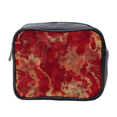 Marble Red Yellow Background Mini Toiletries Bag 2 Side