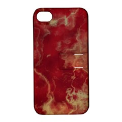 Marble Red Yellow Background Apple Iphone 4/4s Hardshell Case With Stand