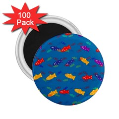 Fish Blue Background Pattern Texture 2 25  Magnets (100 Pack)