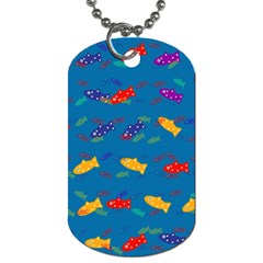 Fish Blue Background Pattern Texture Dog Tag (two Sides)