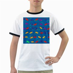 Fish Blue Background Pattern Texture Ringer T Shirts