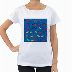 Fish Blue Background Pattern Texture Women s Loose Fit T Shirt (white)