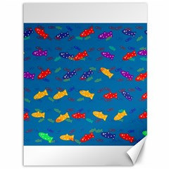 Fish Blue Background Pattern Texture Canvas 36  X 48