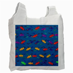 Fish Blue Background Pattern Texture Recycle Bag (two Side)
