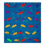 Fish Blue Background Pattern Texture Shower Curtain 66  x 72  (Large)  58.75 x64.8 Curtain