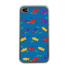 Fish Blue Background Pattern Texture Apple Iphone 4 Case (clear)