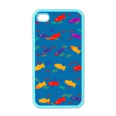 Fish Blue Background Pattern Texture Apple Iphone 4 Case (color)
