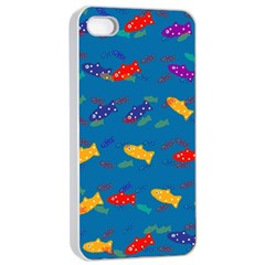 Fish Blue Background Pattern Texture Apple Iphone 4/4s Seamless Case (white)