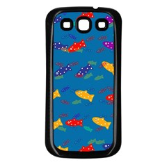 Fish Blue Background Pattern Texture Samsung Galaxy S3 Back Case (black)