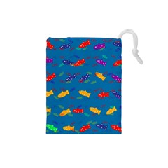 Fish Blue Background Pattern Texture Drawstring Pouches (small)