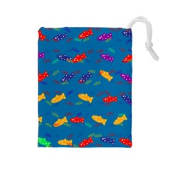 Fish Blue Background Pattern Texture Drawstring Pouches (large)