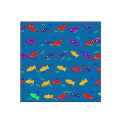 Fish Blue Background Pattern Texture Satin Bandana Scarf