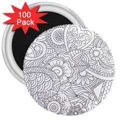 Ornament Vector Retro 3  Magnets (100 Pack)