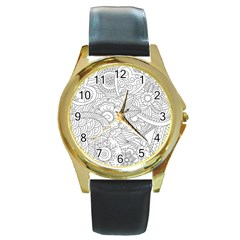Ornament Vector Retro Round Gold Metal Watch