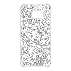 Ornament Vector Retro Samsung Galaxy S7 Edge White Seamless Case