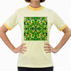 Forest Abstract Geometry Background Women s Fitted Ringer T Shirts