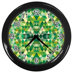 Forest Abstract Geometry Background Wall Clocks (black)