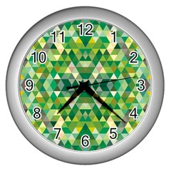 Forest Abstract Geometry Background Wall Clocks (silver)