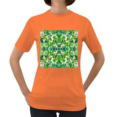 Forest Abstract Geometry Background Women s Dark T Shirt