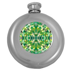 Forest Abstract Geometry Background Round Hip Flask (5 Oz)