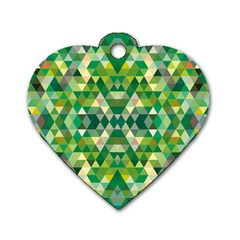 Forest Abstract Geometry Background Dog Tag Heart (one Side)