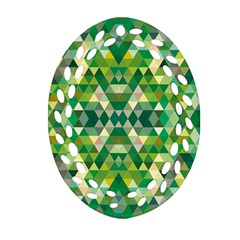 Forest Abstract Geometry Background Oval Filigree Ornament (two Sides)
