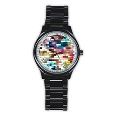 Background Wall Art Abstract Stainless Steel Round Watch
