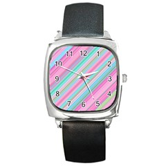 Background Texture Pattern Square Metal Watch