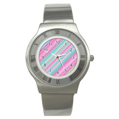 Background Texture Pattern Stainless Steel Watch