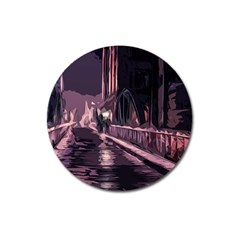 Texture Abstract Background City Magnet 3  (round)