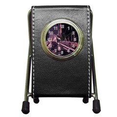 Texture Abstract Background City Pen Holder Desk Clocks