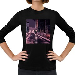 Texture Abstract Background City Women s Long Sleeve Dark T Shirts