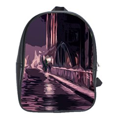 Texture Abstract Background City School Bag (large)