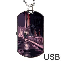 Texture Abstract Background City Dog Tag Usb Flash (two Sides)